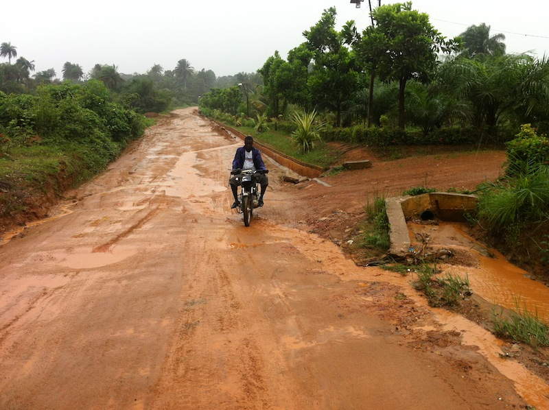 Secondary road in the north of Monrovia, Liberia